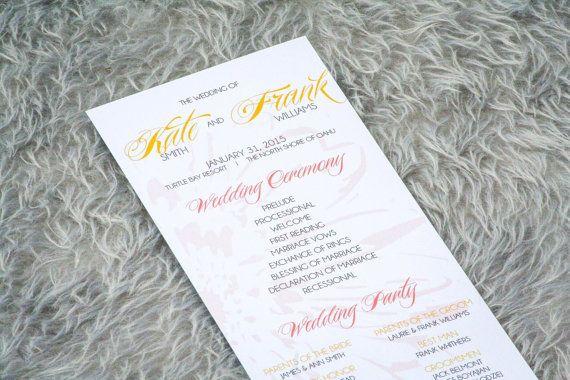 Tropical Wedding Programs, Beach Wedding Programs, Wedding Programs, Coral and Gold, Modern Dramatic Tropical Flat Panel Program