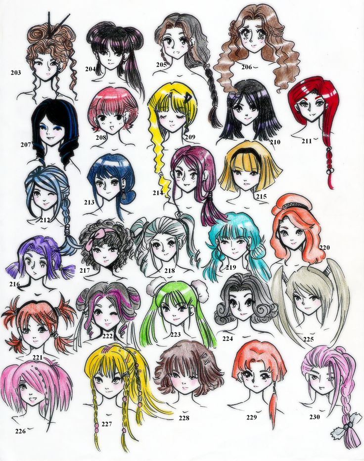 Hairstyles (Edition 5), 28 hairstyles illustrated by ©NeonGenesisEVARei.