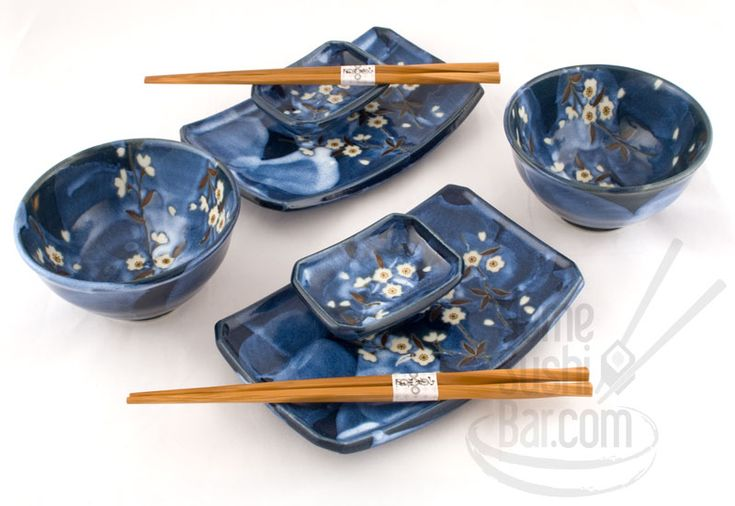 Asian Dinnerware | Japanese Dinnerware > Blue Flower Petals eight piece Sushi & Rice Bowl ...