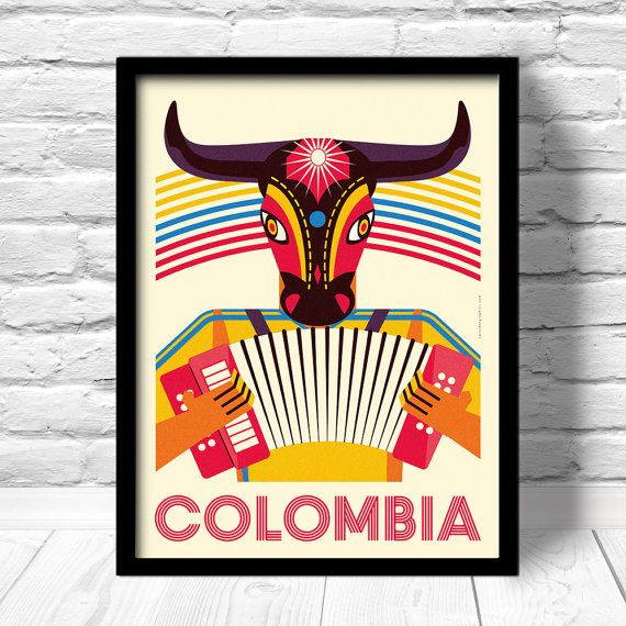 Colombia Poster Barranquilla travel print por ConsiderGraphics, $16.00