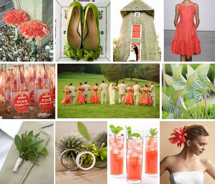 Coral and sage green wedding ideas