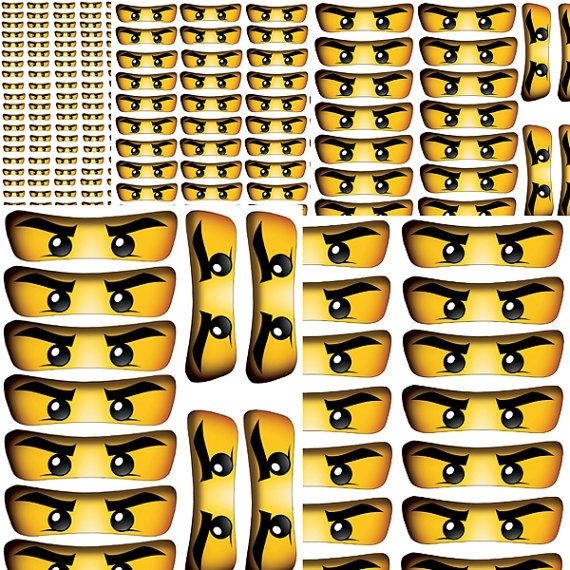 INSTANT DOWNLOAD Ninjago eyes ( 5 sizes ) , banner, wall decor - Digital File - for Ninjago party