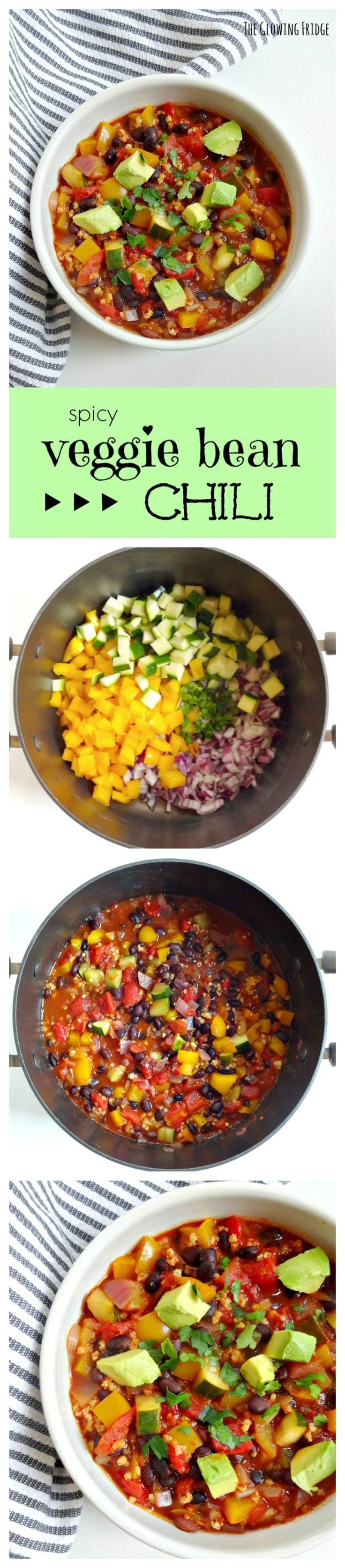 Spicy Veggie Bean Chili - fresh, comforting and full of flavor from a homemade blend of spices - from The Glowing Fridge