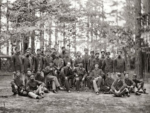 """1st Mass. Cavalry: August 1864  Petersburg VA.  """"Commissioned and non-commissioned officers of Companies C and D, 1st Massachusetts Calvary"""""""