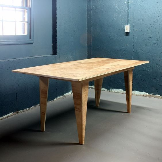 modern table made from one sheet of plywood: