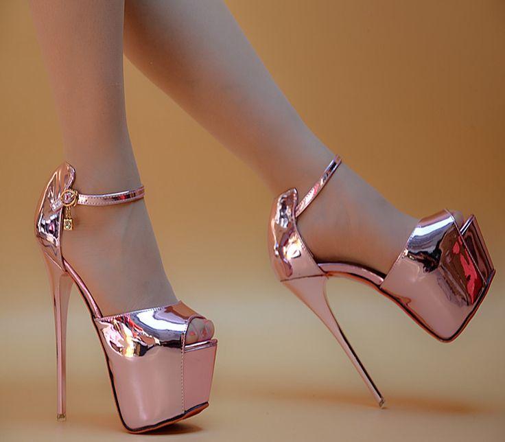 Günstige High heels fein mit sandalen sexy rosa schuhe mit hohen absätzen mit dünnen weiblichen sommer sandalen wort schnalle silber, Kaufe Qualität Frauen Sandalen direkt vom China-Lieferanten: farbe: silber, rosamit hoch: 15 cmwasserdicht: 6 cmgröße: US 4, UNS 4,5, UNS 5, UNS 6, UNS 7US 4 = CN 34 = 22 C – MYLuna