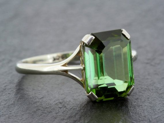 Vintage Tourmaline Cocktail Ring - 1950s Green Tourmaline Cocktail Dress Ring in 9ct White Gold