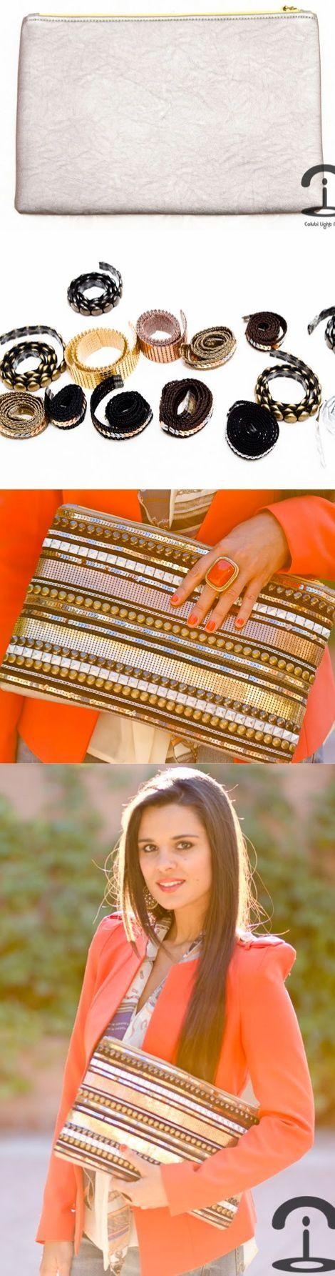 DIY Crimenes de la Moda - Metallic embellished handbag - cartera metalizada…