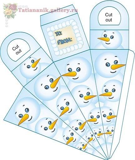 .snowman treat box