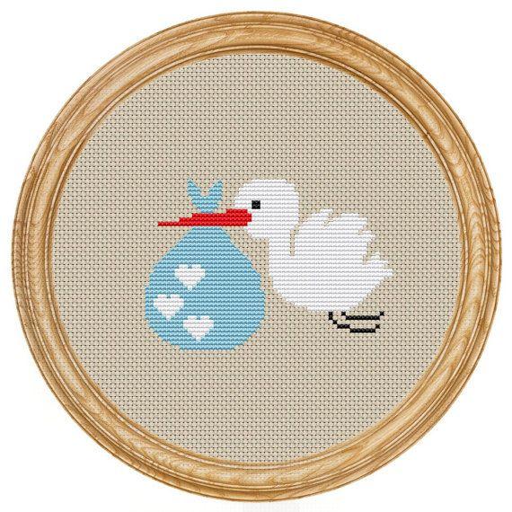 Cross+Stitch+Pattern+PDF+stork+baby+DD0042+от+HappyStitches4You,+$5.00