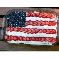 American Flag Cake! The strawberries almost look like hearts which I love!