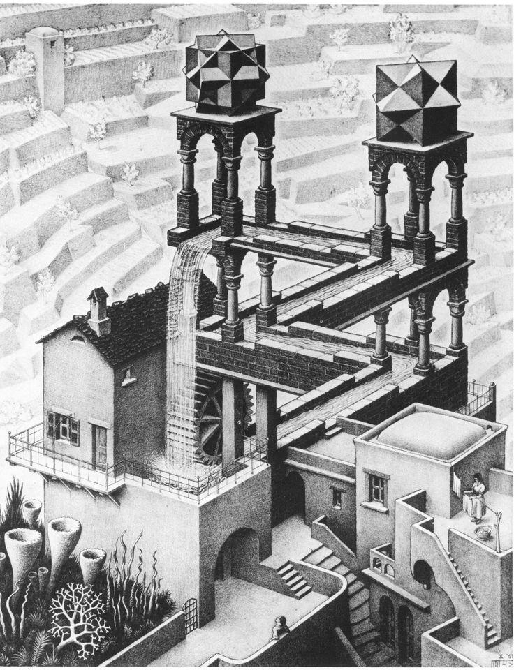 Waterfall  by M. C. Escher, 1961