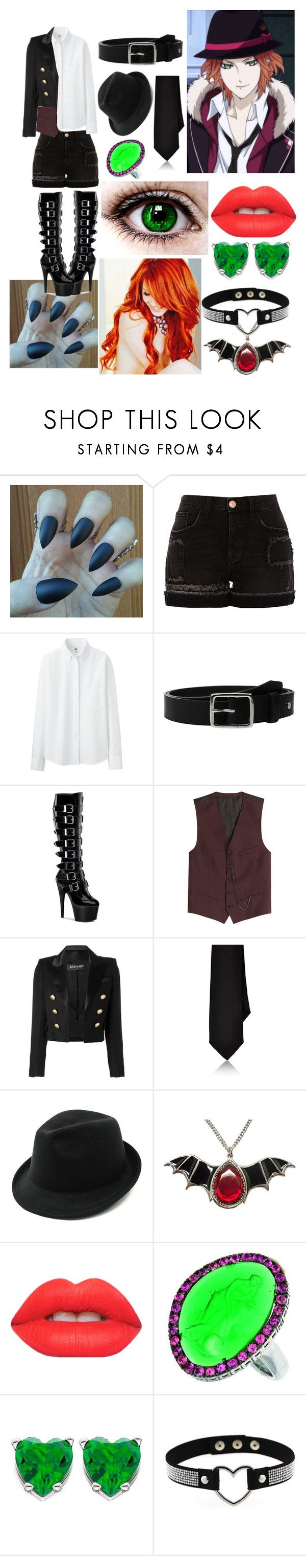 """Diabolik Lovers: Laito"" by maclauglk ❤ liked on Polyvore featuring River Island, Uniqlo, rag & bone, The Kooples, Balmain, Barneys New York, Lime Crime and Phillip Gavriel"