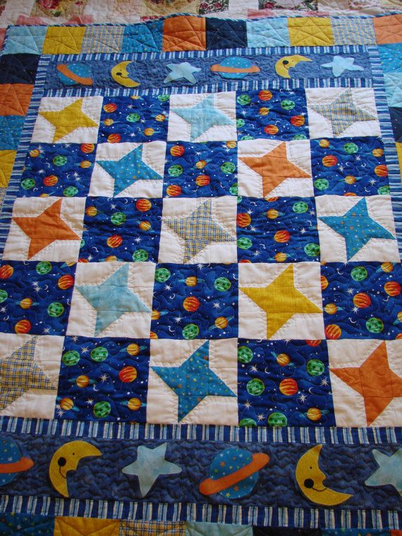 yet another for Tanner P? Would it be as cute without the appliques on the ends? Outer Space Baby Boy Quilt