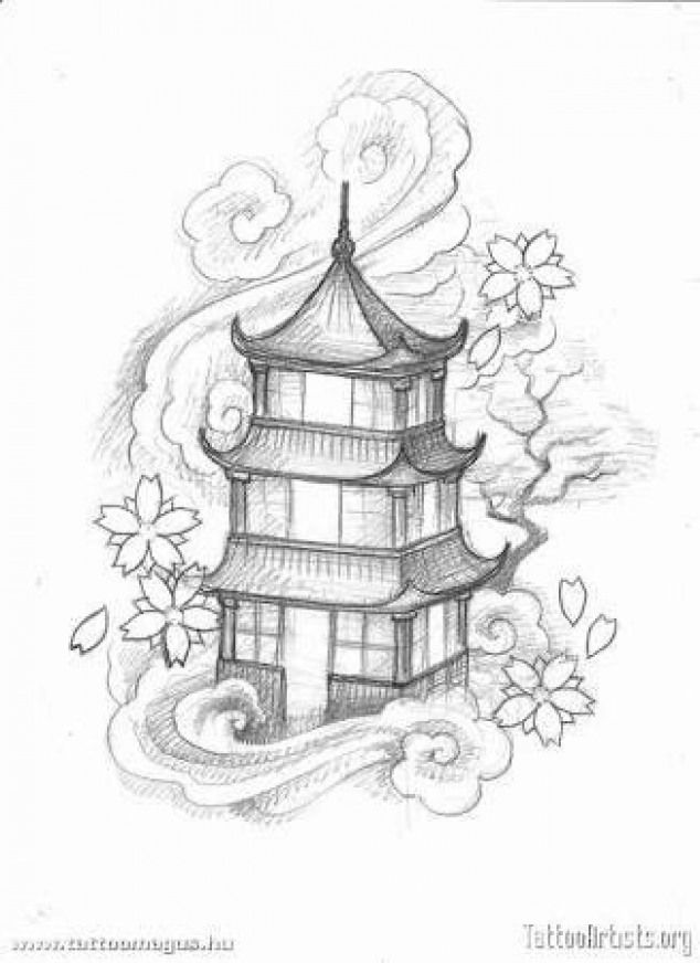 japanese pagoda drawing tattoo designs japan tattoos building clouds drawings temple simple chinese geisha cool artists templo getdrawings pagode sketches