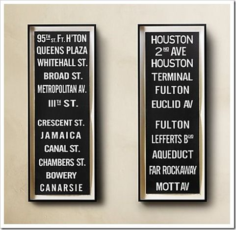 DIY subway sign. Either streets we've lived on or cool places we've been or cities we want to visit?