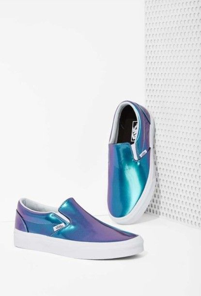 Shoes: vans, blue, pearlescent, slip on shoes, iridescent, blue shoes, metallic shoes, our favorite accessories 2015, vans, style, laminated, shimmer, slip-on, cute shoes - Wheretoget