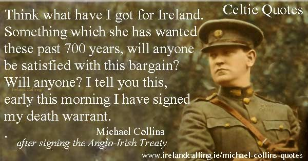 Michael Collins quote. Image Copyright - Ireland Calling