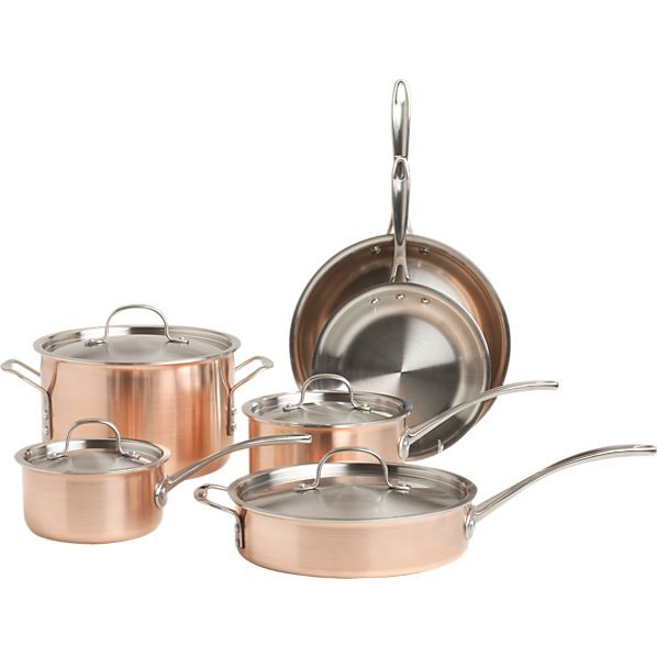 Calphalon Tri Ply Copper 10 Piece Cookware Set Crate And Barrel Copper Cookware Set And