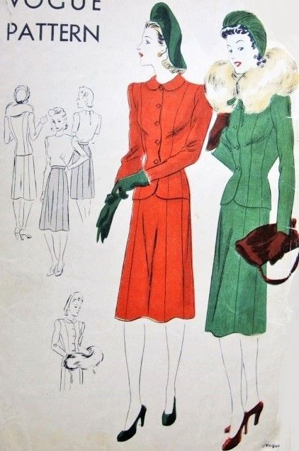 1940s stylish suit and blouse pattern vogue 8783 fitted for Peter pan shirt pattern