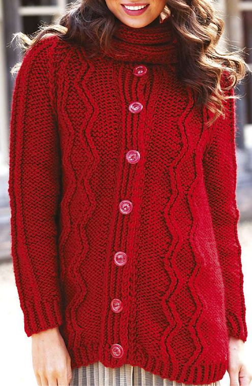 Knitting Pattern for Quick Raglan Coatigan - This long sleeved-cardigan with cables is a quick knit in super bulky yarn. Sizes 6-26