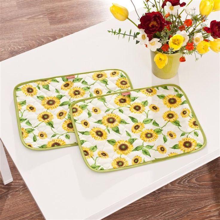 #kwiaty #flowers #decoration #dekoracje #dom #home Podkładka prostokątna Sunflowers pikowana, 42x32cm - Dekoria