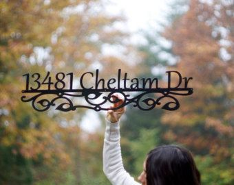 Custom Metal Address Sign House numbers house by GlamorousFindings