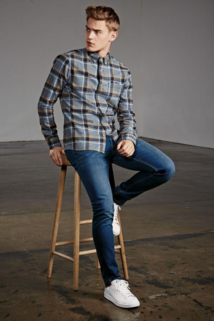 Next Fall 2015 #men #fashion #casual #autumn #fall #checkered #shirt #jeans #sneakers