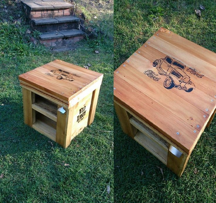 Side table made from discarded pallets for a man cave.
