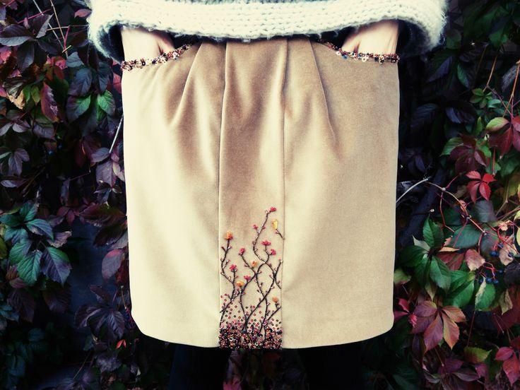 RaSaNa.Бархатная юбка вышивка бисер,пайетки,янтарь.autumn 2016