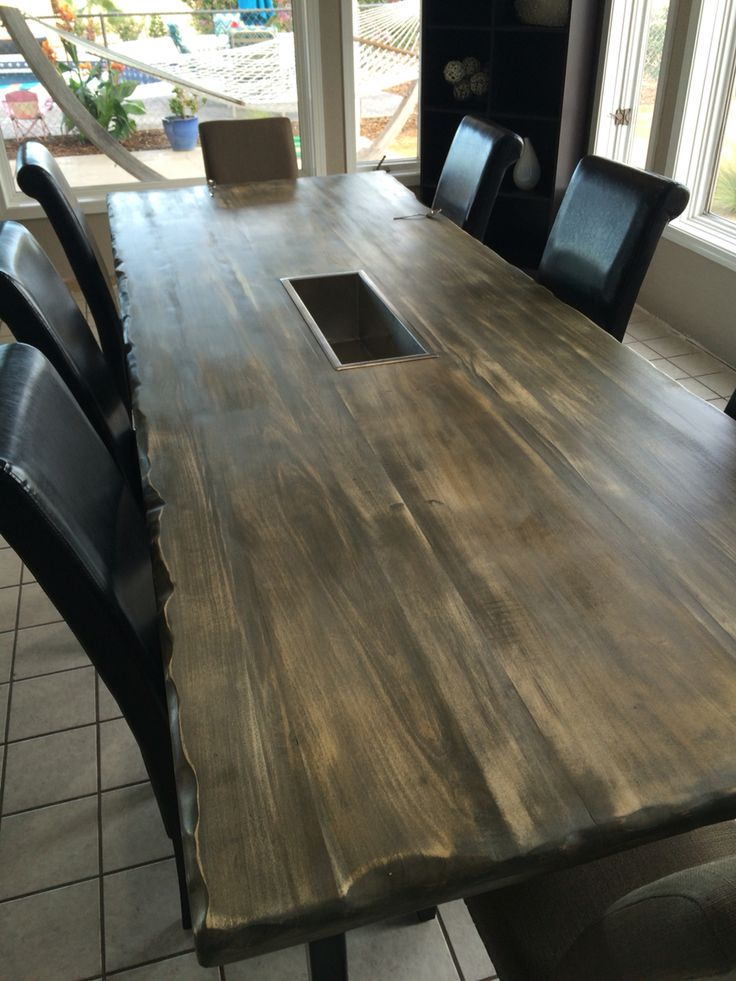 poplar wood stained and sanded with live edge gray rustic