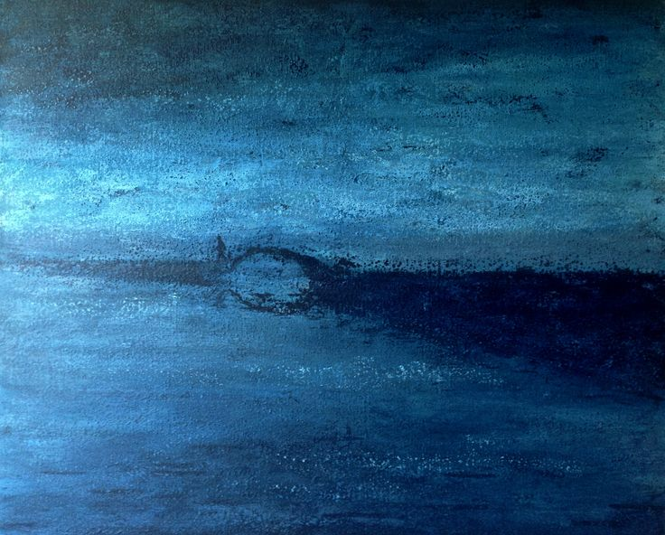 THERE IS A BRIDGE BETWEEN TWO SKIES 2016, Arylic on canvas, 100 x 81 cm  Lonely man somewhere in the space between heaven and earth, between heaven and hell, between heaven and heaven. Where do you come from, where are you going? ... #contemporaryart #art #acrylic #canvas #blue #polishart #tachisme #seascape #landscape #man #lonelyman #impresionistic #modern #serenity