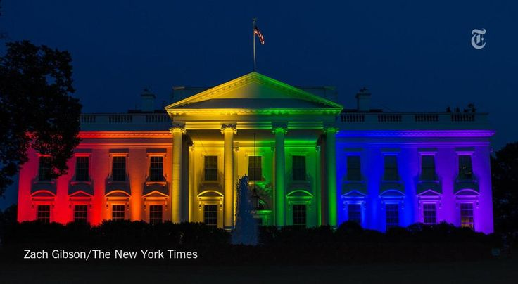 The White House was illuminated in honor of same-sex marriage http://nyti.ms/1QV7Jw7