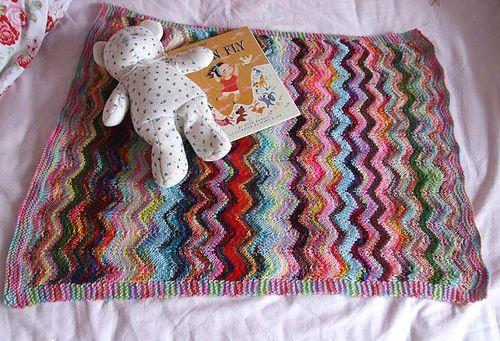 Zig and Zag Sock Yarn pram baby blanket, free pattern by Debbie Orr Knittin...