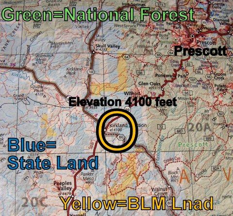I took a photo of a page from my Benchmark Atlas. In a quick glance it tells me where BLM, National Forest and State Land are located and the elevation of all towns nearby. That is extremely helpful for broad planning! My first step is always to get out my Benchmark and decide on a general area t go to. Then I use more detailed maps to narrow it down. Below you can see the BLM map and Delorme Topo program I used. In my next post I will discuss the Prescott National Forest MVUM map which was…