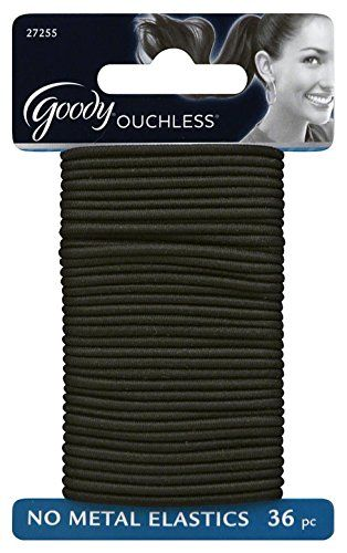 Goody Ouchless Gentle Elastic Ponytail Holders, Black, 36…