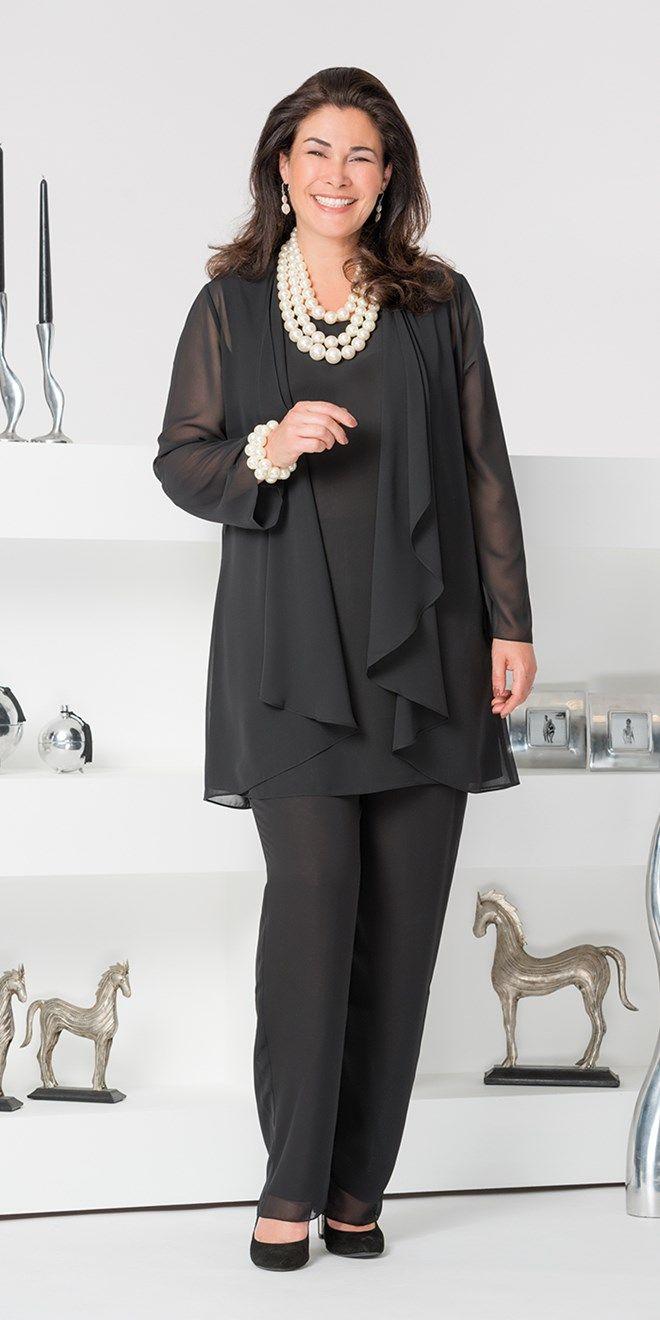 Veromia black chiffon jacket, vest and trouser