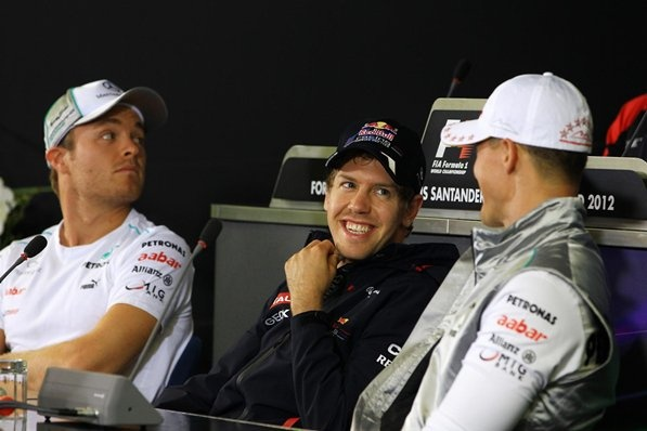 (L to R): Nico Rosberg (GER) Mercedes AMG F1, Sebastian Vettel (GER) Red Bull Racing and Michael Schumacher (GER) Mercedes AMG F1 in the Press Conference. Formula One World Championship, Rd10, German Grand Prix, Preparations, Hockenheim, Germany, Thursday, 19 July 2012  © Sutton Images.
