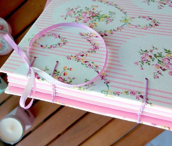 Pink floral  coptic Stitch by B2handmadedesign on Etsy
