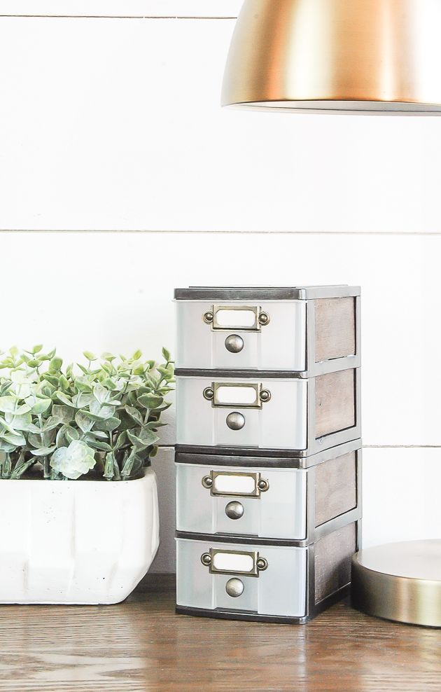 WOW, this transformation is unbelievable!  Inexpensive Dollar Tree storage drawers get an impressive industrial farmhouse makeover! www.littlehouseoffour.com