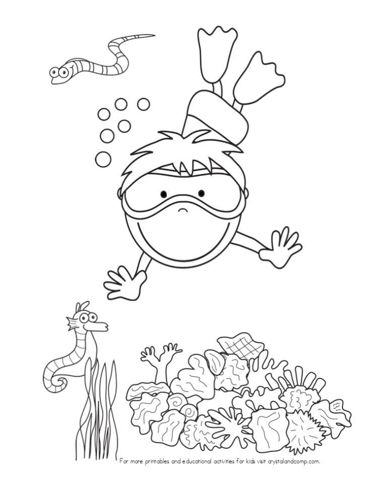 kid color pages under the sea: swimming boy // páginas para colorear, temática bajo el mar: buceador