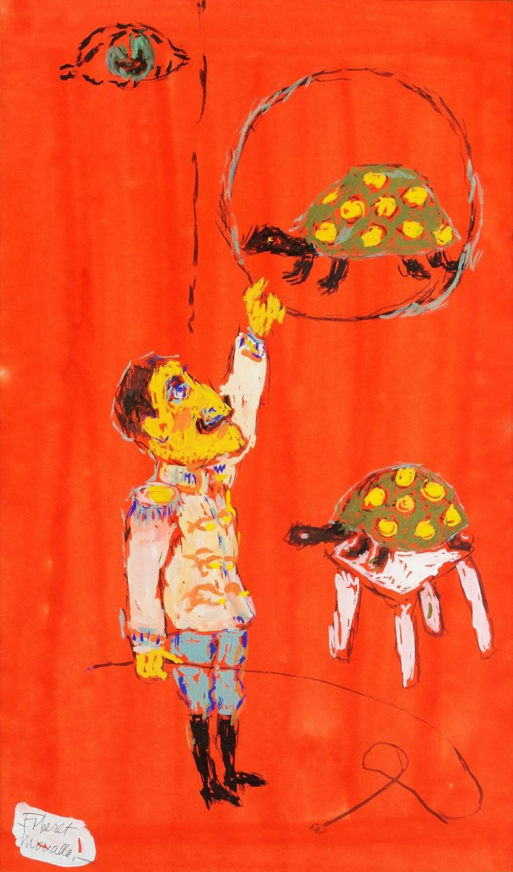 Fikret Muallâ, (Turkish,1903-1967) Circus in Red – The Turtle Trainer - Gouache on paper, 54 x 32 cm.