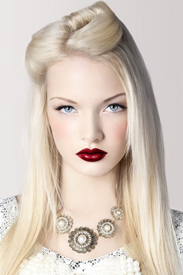 Porcelain Skin with red lip.  Stunning!