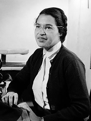 "Rosa Parks (1913-2005) ~ ""I  was tired of giving in,"" Rosa Parks would go on to say about her decision not to give up her seat to a white man on a Montgomery, Ala., bus on Dec. 1, 1955. This wasn't the first time the seamstress had chosen not to give in. Parks had been an active member of the local NAACP chapter since 1943. it was her simple act of refusal, a move which landed Parks in prison, that set in motion the Montgomery bus boycott and kicked off the civil rights movement."