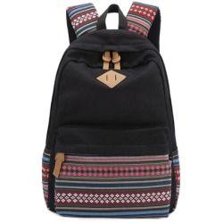 Stripe Canvas School Backpack College Campus Bag Rucksack Satchel Travel Sports Outdoor Travel Gym Bag Schoolbag for Teens Girls Boys Students