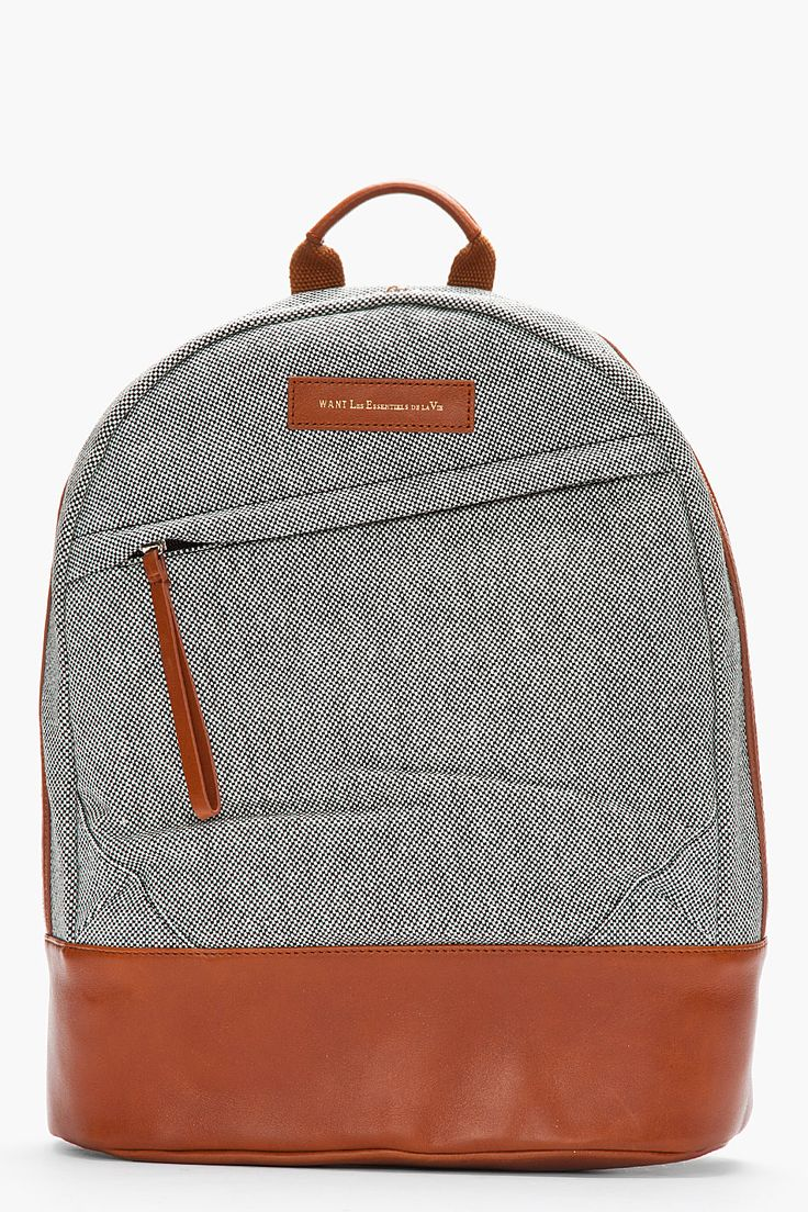Nanamica cordura 174 twill cycling backpack in green for men blue - Want Les Essentiels De La Vie Black And White Leather Trimmed Kastrup Backpack