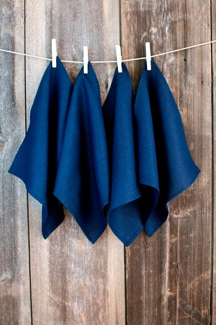 Cloth Napkin  NAVY BLUE Pure Linen 20 Napkin Set by LinumStudio, $50.00