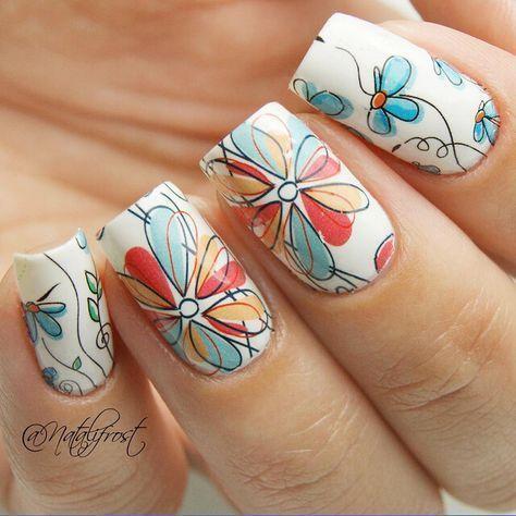 1 Sheet BORN PRETTY Nail Sticker Cute Flower Pattern Nail Art Water #Springnails #nailart