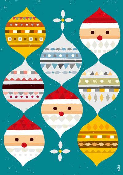 Mod Santas & Ornaments by illustrator Suzuki Tomoko