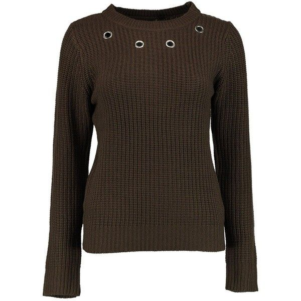 Boohoo Sophia Eyelet Detail Jumper ($8) ❤ liked on Polyvore featuring tops, sweaters, knit sweater, knit jumper, brown turtleneck, party jumpers and brown turtleneck sweater
